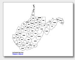 printable West Virginia county map labeled