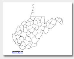printable West Virginia county map unlabeled