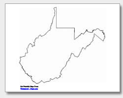 Printable West Virginia Maps State Outline County Cities - State of west virginia map