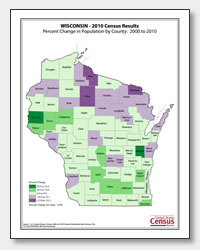 printable Wisconsin population population change map