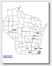 printable Wisconsin major cities map labeled