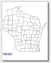 printable Wisconsin major cities map unlabeled