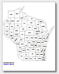 Printable Wisconsin Maps State Outline County Cities