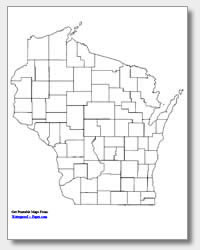 printable Wisconsin county map unlabeled