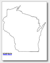 printable Wisconsin outline map