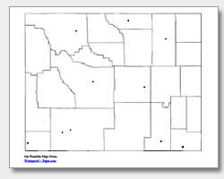 printable Wyoming major cities map unlabeled