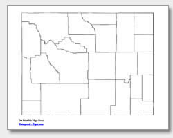 printable Wyoming county map unlabeled