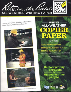 Rite in the Rain weatherproof copier  paper
